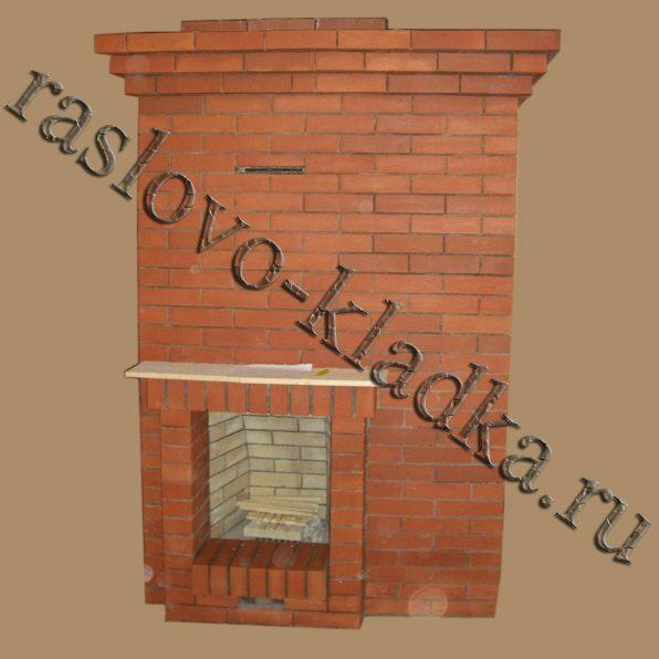 Печь-камин для загородного дома из кирпича своими руками в углу